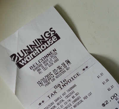 Bunnings warehouse receipt, showing a total spend of $2.00.