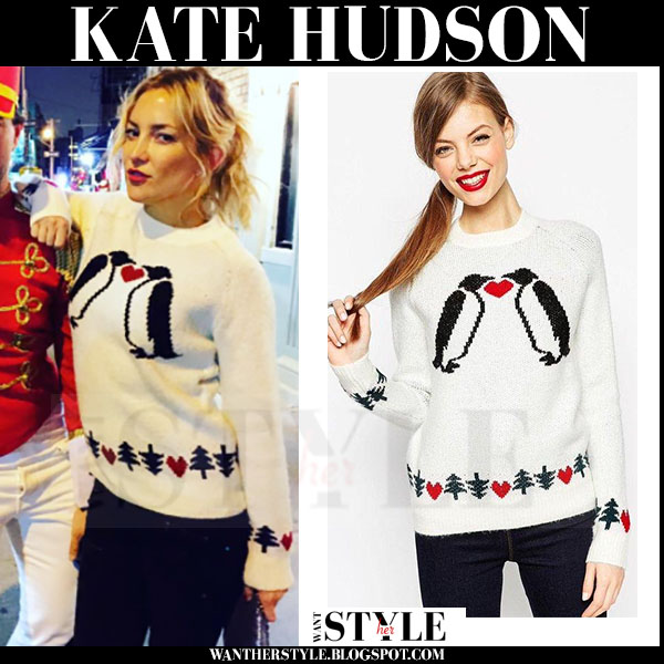Kate Hudson in cream knit penguin sweater from Asos what she wore holiday style