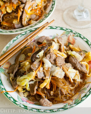 Japchae (Korean Sweet Potato Noodles with Beef)