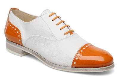 Lace up orange and white brogues from Sarenza