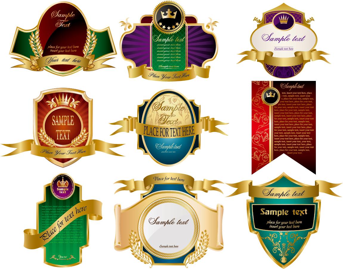 お洒落なラベル デザイン見本 variety of european label vector