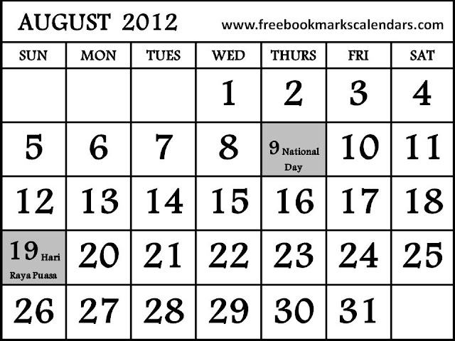 Printable 2012 Calendar Template
