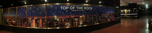 Panaroma of Top of the Rock Observatory in the downtown of Manhattan, New York, USA