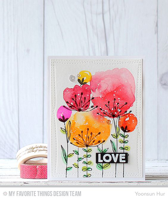 Floral Love Card by Yoonsun Hur featuring the Sketched Blooms and So Much Love stamp sets and theWonky Stitched Rectangle STAX Die-namics #mftstamps