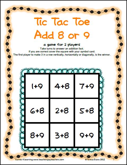Tic Tac Math Freebies  Math Concentration
