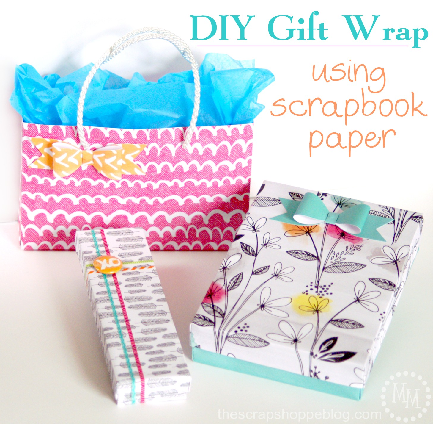 Diy gift wrap using scrapbook paper the scrap shoppe for Diy gift projects