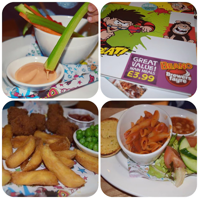 Beano kids menu at brewers fayre