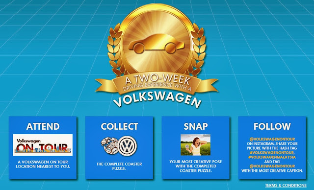 'Volkswagen On Tour' Photo contest Complete a coaster puzzle at 'Volkswagen On Tour' and snap a creative photo with the coaster puzzle with winning caption to win a 2 weeks test drive with your favourite Volkswagen