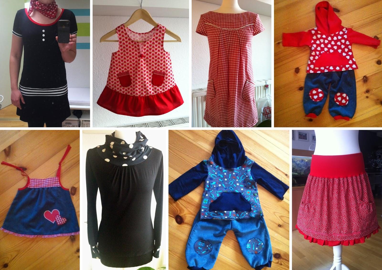 erste Nähversuche: Kleider, Röcke, Pullover für mich, Hoodies und Hosen sowie Kleidchen für die Kids