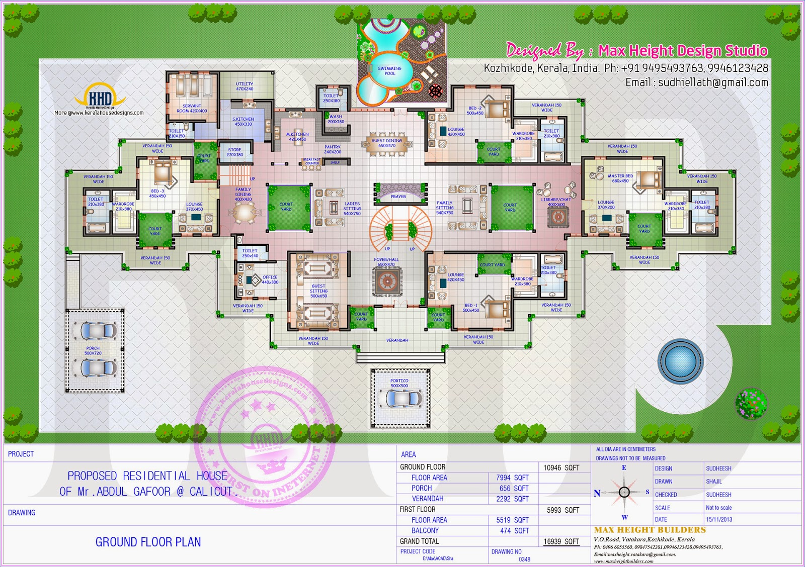 Gigantic super luxury floor plan home kerala plans for Luxury home floor plans