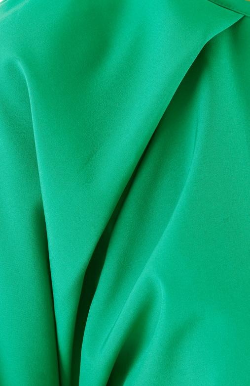 Green Pleat Raglan Long Sleeve Blouse