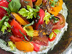 Tomato Salad w/ Mascarpone + Wasabi Dressing