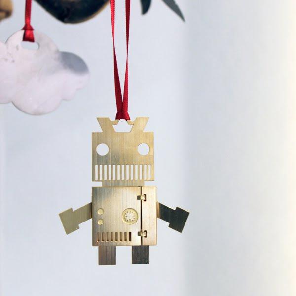 adornos de navidad delicado en forma de robot