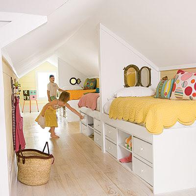Habitaciones abuhardilladas dos en la pasarela - Aufbewahrungsboxen kinderzimmer design ...