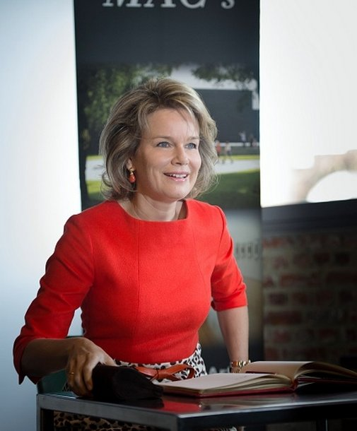 Queen Mathilde of Belgium visits the exhibition 'L'Homme, le Dragon et la Mort, La Gloire de Saint Georges' (The man, the dragoon and the Death, Glory of Saint Georges) at the contemporary arts museum