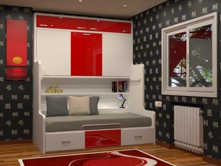 un mueble litera con cama nido fija debajo y tres amplios cajones con un estante interior que nos servira de mesilla