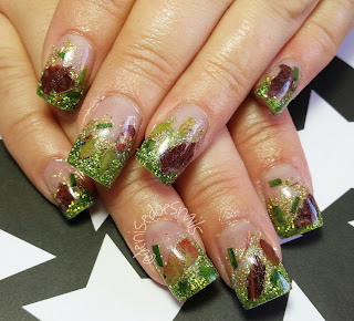 fall nails with leaves and grass