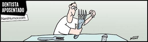 Tiras: Os aposentados. dentista