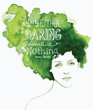 watercolor, watercolor girl, green, helen keller, helen keller quote, hand-lettering, hand lettering, green watercolor hair, green watercolor, watercolor hair, inspirational quote, inspirational, fashion, girl, pretty girl, pretty