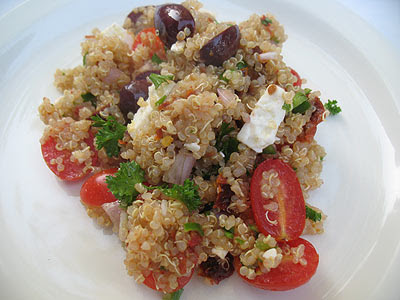 quinoa salad with feta cheese and black olives