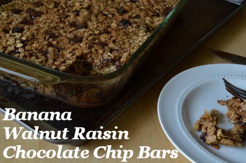Banana Walnut Raisin Chocolate Chip Bars   seriously-lovely.blogspot.com