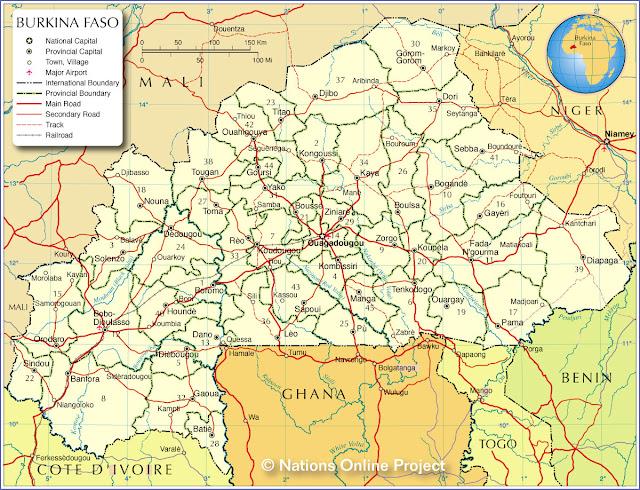 Burkina Faso - Cartes géographiques et touristiques du Burkina Faso