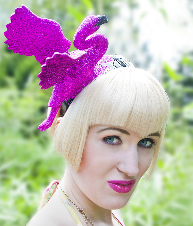 flamingo hat, flamingo fascinator, Pearls and Swine
