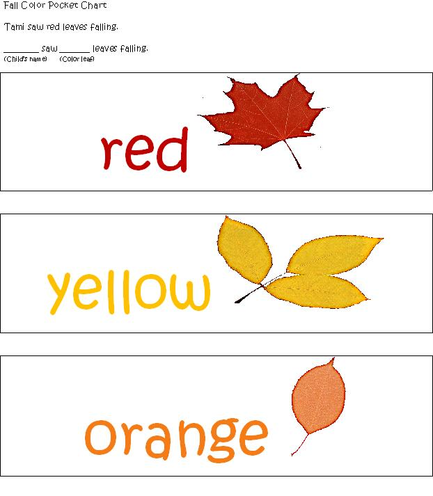 Leaf Chart http://learningandteachingwithpreschoolers.blogspot.com/2011/10/fall-fun-in-preschool.html