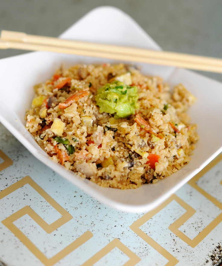 ... Up! , using cauliflower as a substitute for rice in a yummy stir fry