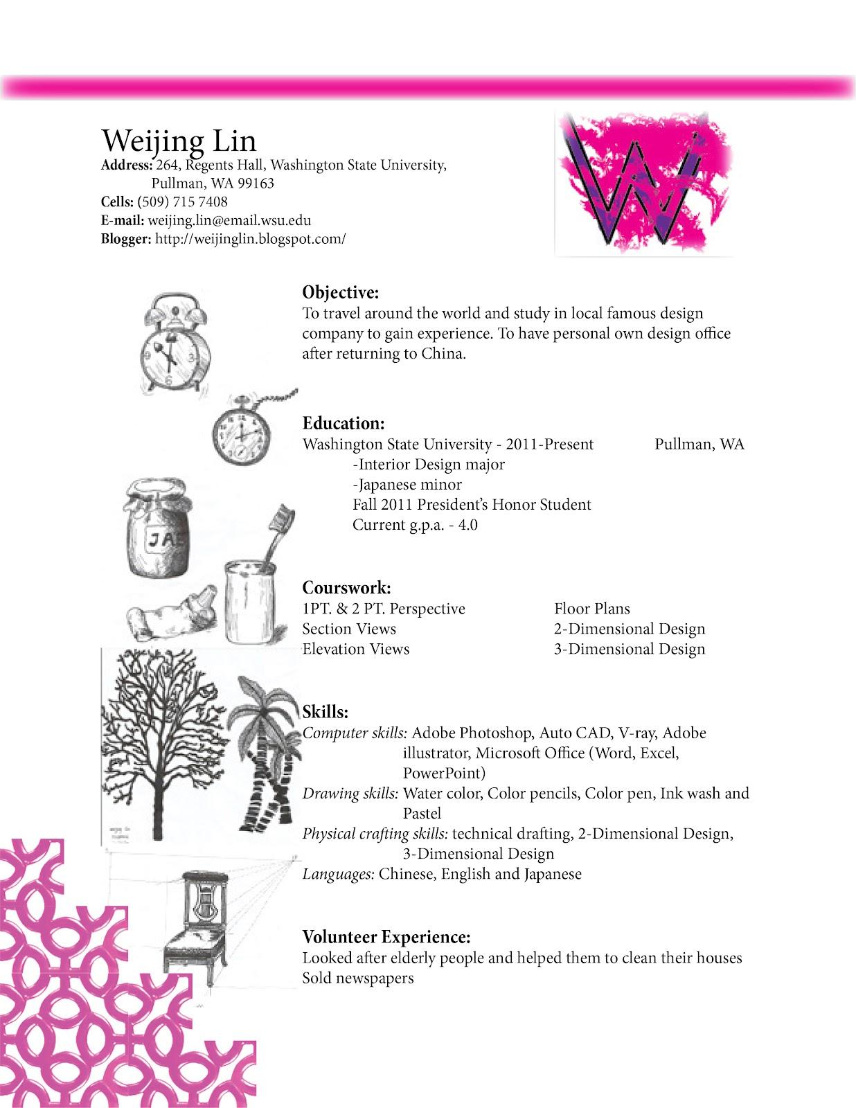 Weijing Lin S Design Blog Resume