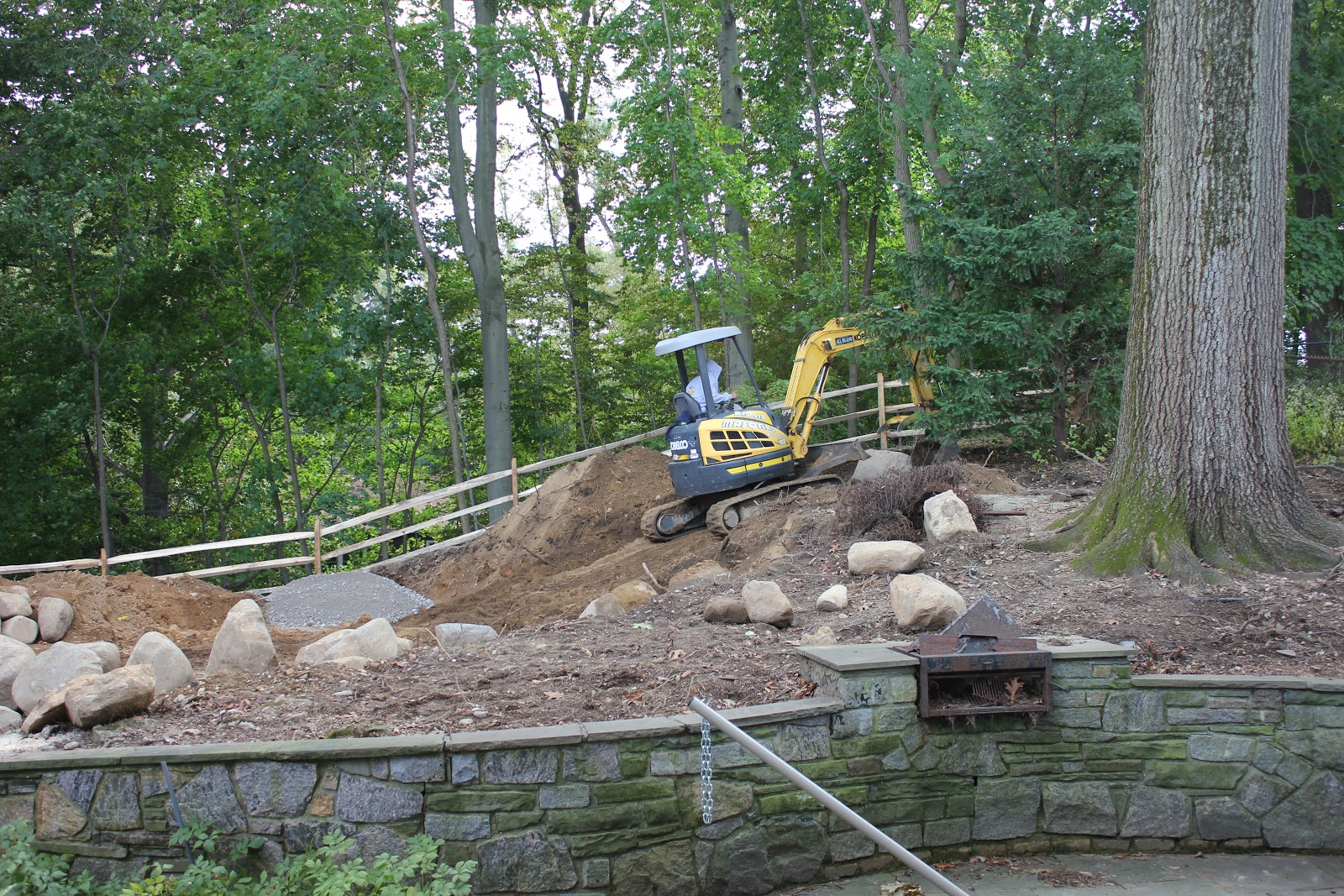 and gardens backyard renovation part 4 boulder retaining wall