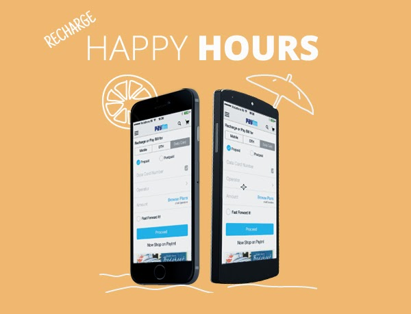 Paytm Happy Hours Offer - Get Rs. 30 Cashback on Rs. 30 Recharge for both Old and New User