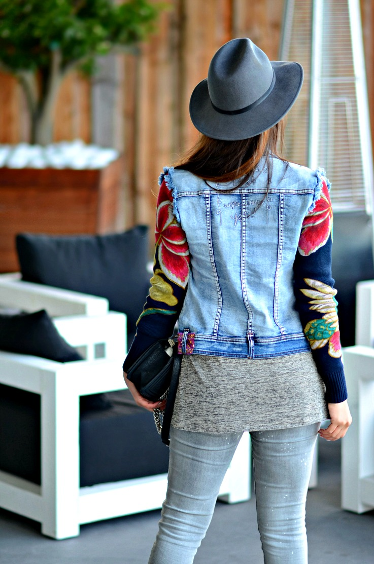 Floral denim jacket, Desigual, Grey outfit, Chanel Boybag, metallic sandal heels Amsterdam Harbour club, TC Style Clues,