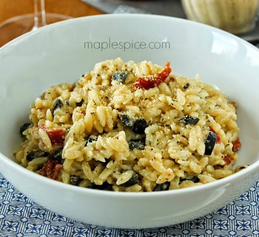 Orzo with Black Olives, Sun-Dried Tomatoes and Vegan Parmesan