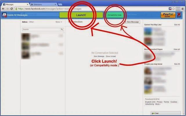 كيفية حذف جميع رسائل الفيس بوك مرة واحدة ؟