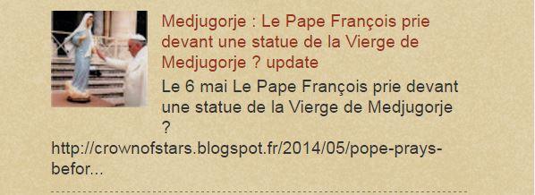 Medjugorje : Pape François prie devant une statue de la Vierge de Medjugorje