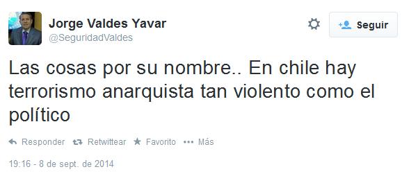 Las cosas por su nombre.. En Chile hay terrorismo anarquista tan violento como el politico,