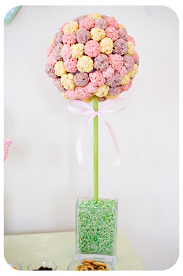 baby favor: rice krispie treat topiary tutorial