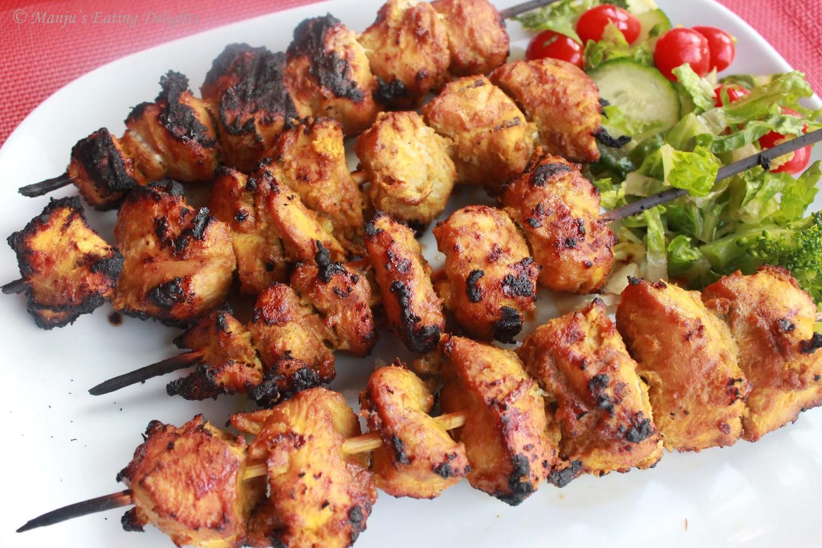 Manju's Eating Delights: Grilled Chicken Satay Kebabs