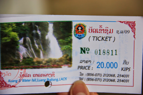 Entrance ticket to Kuang Si Falls
