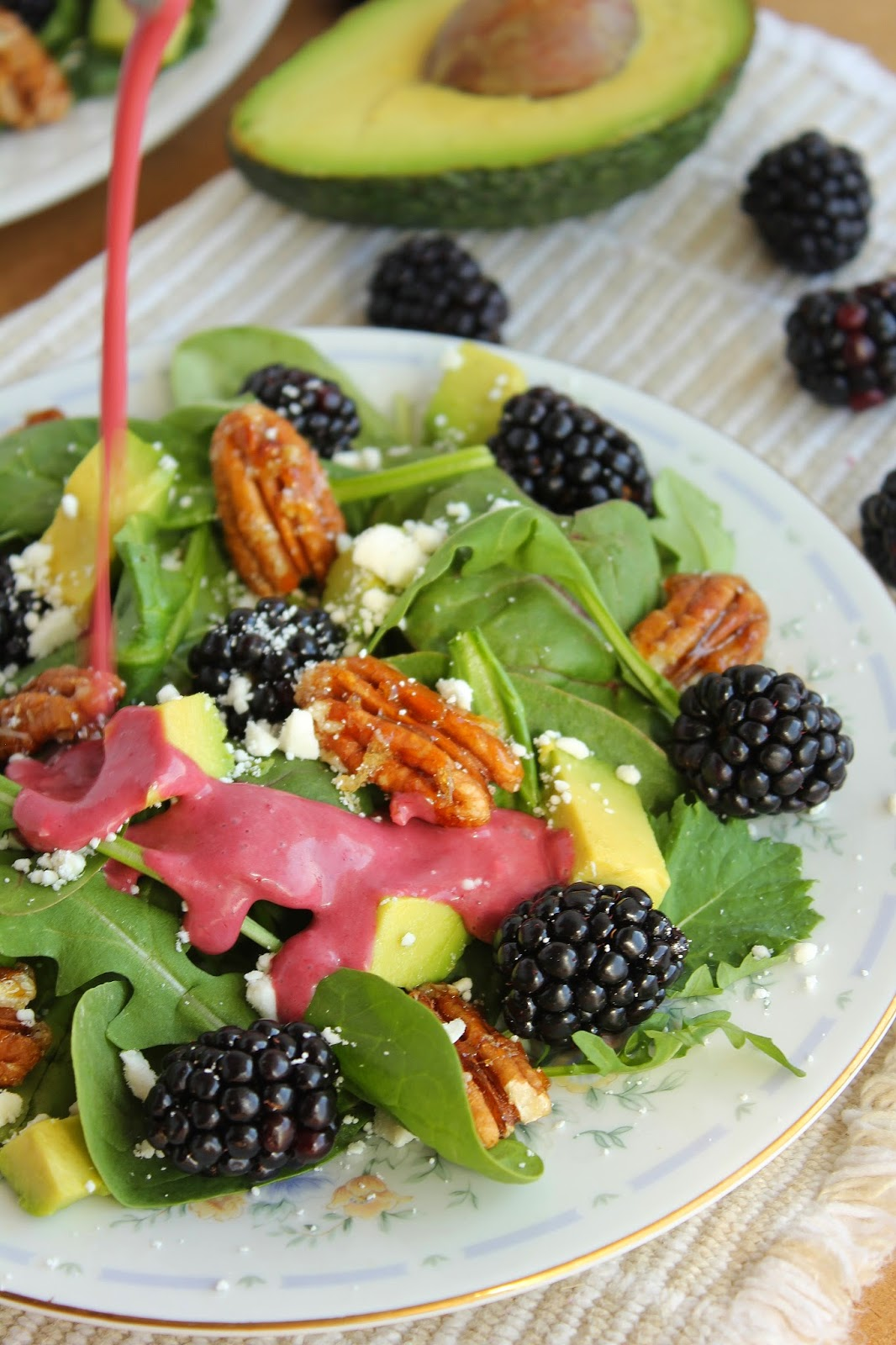 ... and Blackberry Salad with Candied Walnuts and Blackberry Vinaigrette