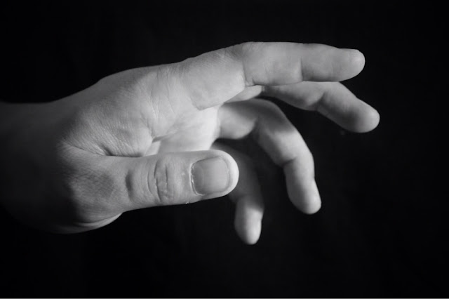 Black and white copyright free picture of a hand