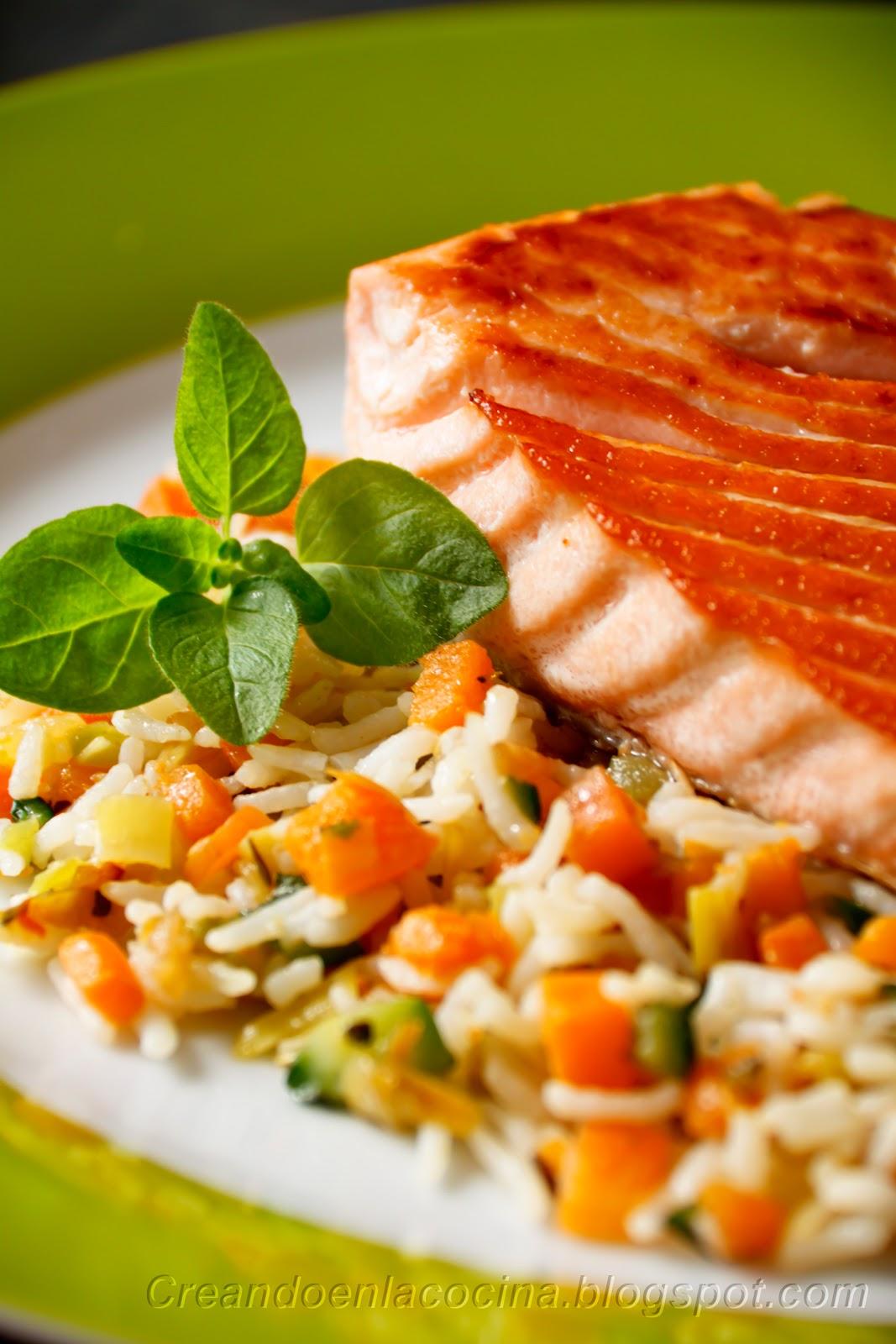 Creando en la cocina salm n a la plancha y arroz pilaf - Cocinar verduras para dieta ...