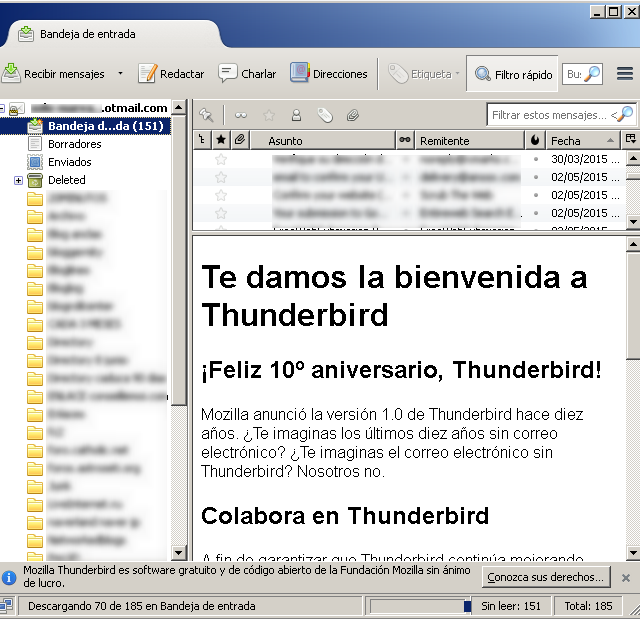 Configuración cliente de correo Thunderbird Mozilla