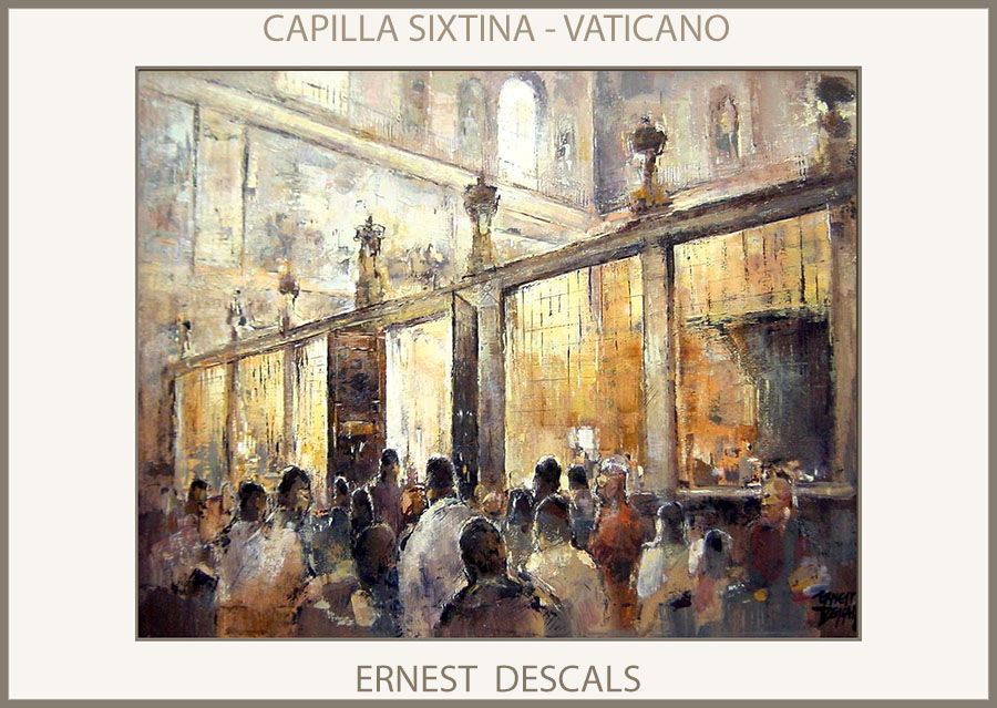 CAPILLA SIXTINA-PINTURAS-VATICANO-PINTURA-ARTE-ROMA-ITALIA-CUADROS-INTERIORES-PINTOR-ERNEST DESCALS-