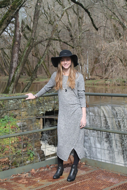 gray midi dress bohemian look