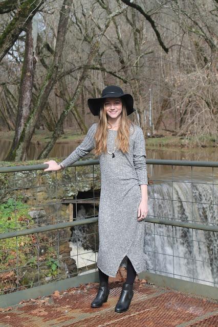 gray midi dress bohemian look