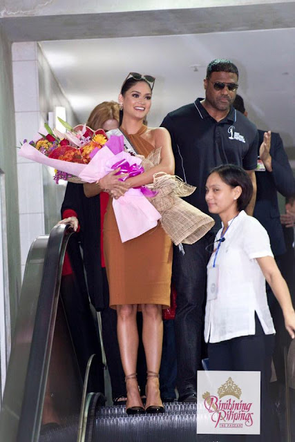 Pia arrives in Manila