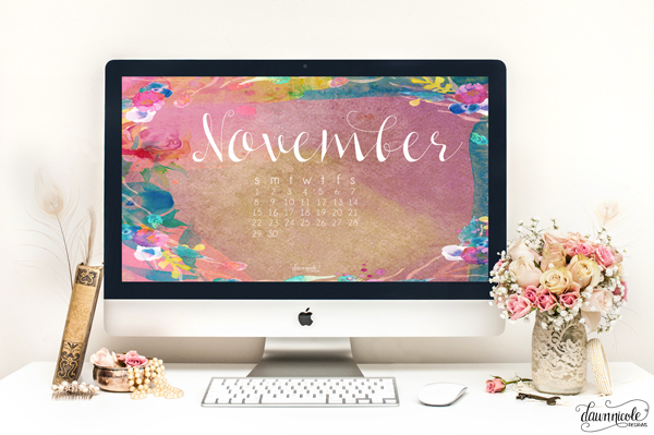 Desktop November Calendar 2015 - Dawn Nicole Designs