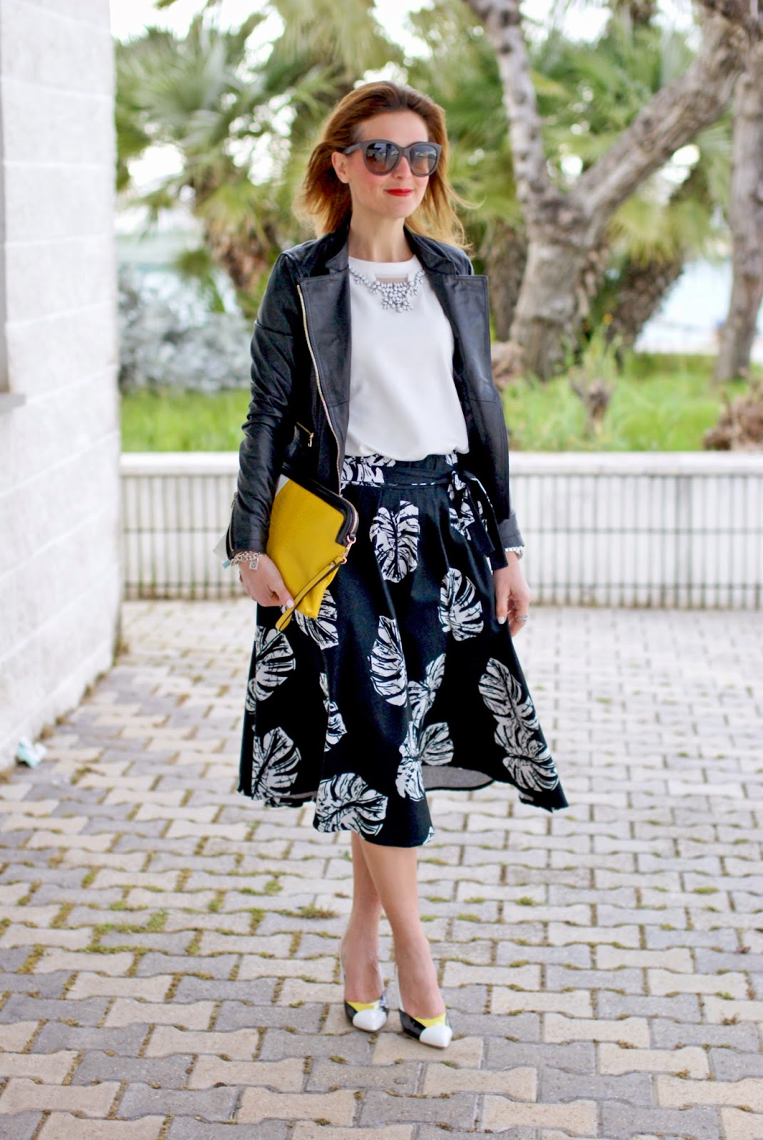 Giorgia & Johns felpa pietre e tulle, leather peplum jacket, palm leaves print skirt, Fashion and Cookies, fashion blogger